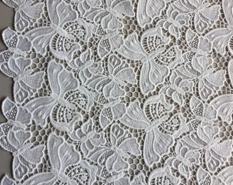 "White Floral and Butterfly Guipure Lace with Double Scallop, Made in Italy, Price is per Yard, 52"" wide"