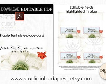 Wedding Place Card, Fox Place card template, printable escort card, Seating card, Table card template, Rustic place card, PDF template