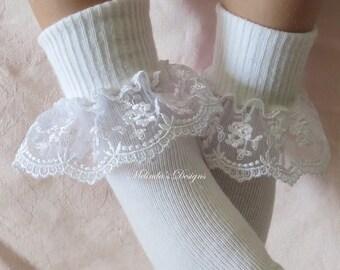 Little Girl's Socks Lace Socks Easter Socks Baby Socks Girl's Socks Frilly Socks Toddler Socks Christening Socks Newborn Socks Baby gift