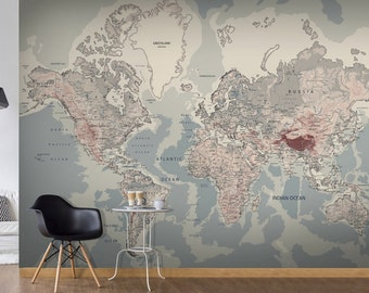 World map wall mural etsy photo wallpaper wall murals non woven world map atlas modern design wall decals bedroom decor home gumiabroncs Images