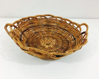 Vintage Wicker Basket Bowl Catch All - 9""