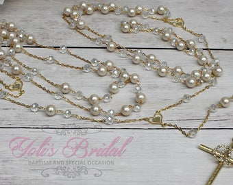 FAST SHIPPING!! Beautiful Gold  Wedding Lasso with Pearls,  Pearl Wedding Lazo, Lazo para Boda de Perlas, Christian Wedding Lasso