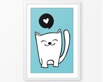 Cat poster,instant download,kids wall art,baby gift,digital file, kids poster,nursery decor,kids room decor,nursery art,nursery poster