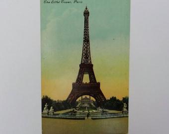 Eiffel Tower Paris France Postcard // Antique Postcard