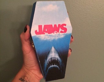 Wood coffin box, Jaws keepsake box, shark week