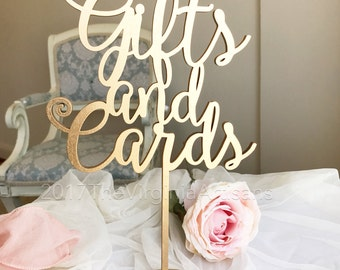 Gifts and Cards Sign, Gifts and Cards Party Signage, Wedding Sign, Gold Wedding Signs