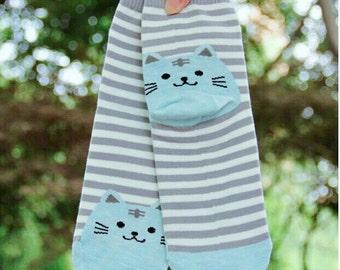 Blue Kitty Striped Socks