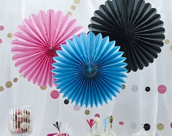 Delightful paper hanging fans, wedding venue, party decoration- Pack of 3