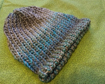 Soft variegated acrylic yarn boho winter hat in turquoise and silver