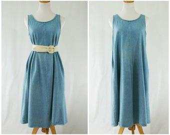 Denim Dress Light Wash 80's // Sleeveless Grunge Jean Dress with Pockets // Medium