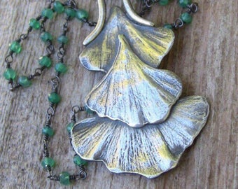 Sterling Silver Leaf Necklace, Gingko Leaf Necklace with Green Onyx Beaded Chain, Long Leaf Necklace