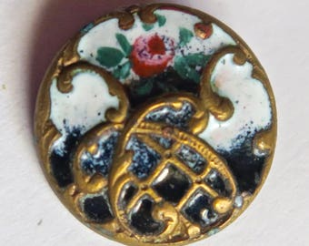 Pretty Champleve Enamel Button With Rose on Trellis