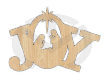Unfinished Wood JOY with Nativity Manger Scene Laser Cutout, Wreath Accent, Door Hanger, Ready to Paint & Personalize, Various Sizes