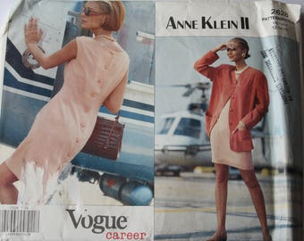 UNCUT Vogue 2628 Sewing Pattern, Misses /Womens Jacket and Dress, Suit, Anne Klein, Career, summer dress, loose jacket