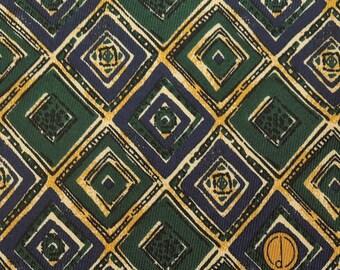 Dunhill Tie Pure Silk Plaid Geometric Pattern Green Vintage Designer Dress Necktie Made In Italy