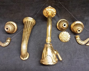 Vintage Phylrich Luxury Gold Swan Baroque Ribbon Shower / Bath Tab Faucet Trim Set
