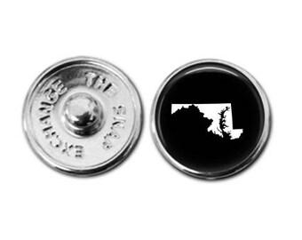 Maryland charm, Maryland jewelry, Maryland map charm, snap button jewelry, button snap jewelry, button jewelry, snap charm jewelry