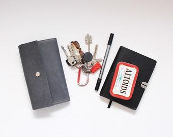 Grey leather envelope wallet