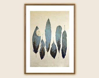 "Feather Art Print: ""Forest Birds"""