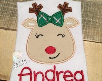 Reindeer shirt for girls - Girl reindeer shirt - reindeer shirt - christmas shirt for girls - girls Christmas shirt - Christmas reindeer