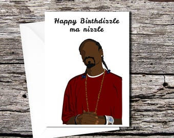 Snoop Dogg high quality greetings card (A5 folds to A6, or A4 folds to A5)