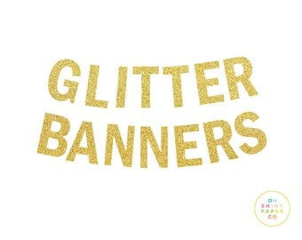 Custom name banner - GLITTER paper - pick your color!