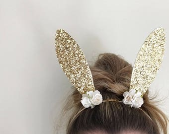 Gold Bunny Ears Headband - Easter Headband - Bunny Headband - Rabbit Ears - Bunny Ears Item #049