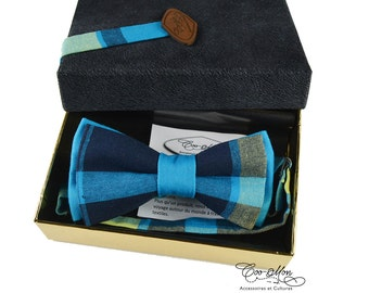 Madras bow tie, plaid bow tie, blue bow tie, men bow tie, made in quebec, coomon, men accessories, men gift idea, boyfriend gift