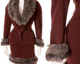 Vintage Thierry Mugler 80s Grey Fox Fur Trimmed Suit