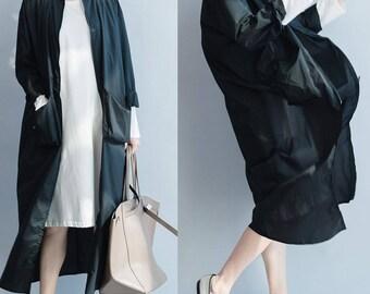 women leisure coat/women loose coat/women loose wind coat/women simple coat/QZ03C2819