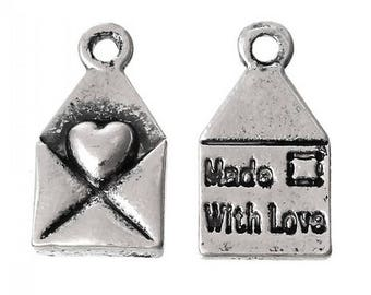 25 pcs Made With Love Heart Envelope Antique Silver Charms