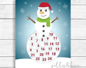 Advent Calendar, Snowman Advent Calendar, Snowman, Christmas Advent Calendar, Printable Advent Calendar, DIGITAL FILE ONLY