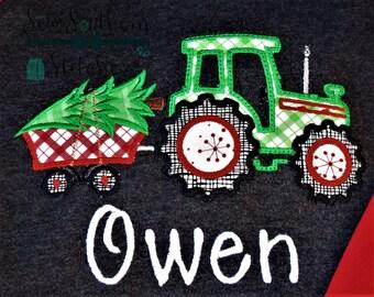 Tractor Trailer Hauling Christmas Tree ~ Applique Design ~ Instant Download