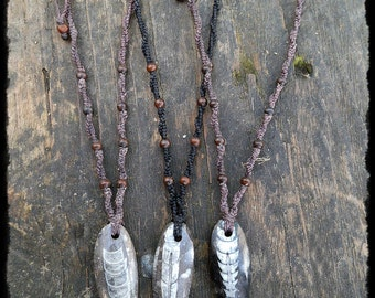 Macrame necklace with fossilized Orthoceras
