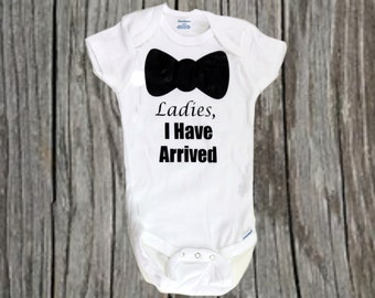 Ladies I have Arrive Baby Bodysuit, One Piece, Jump Suit, Baby Shower Gift, It's a boy