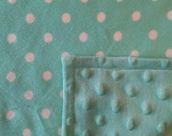 Teal Polka Dot Baby Blanket