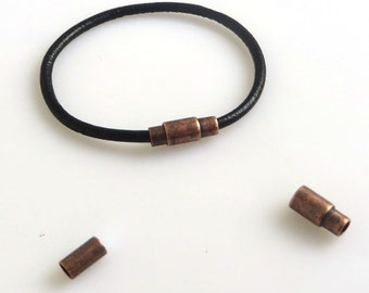 10 Sets Antique Copper Barrel Magnetic Clasp For 3mm Round Leather Cord CK198