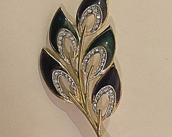 Vintage Leaf Brooch.Green, Red And Diamanté Brooch.