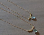 Little Mermaid Tears Sea Glass Necklace - Sterling Silver Bezel Genuine Sea Glass Pendant with Gold Chain