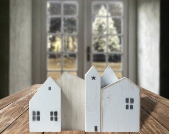 White Wooden houses, Small wood house, Little wooden painted house, Natural wood decoration, Rustic home decor, Miniature village, GFT