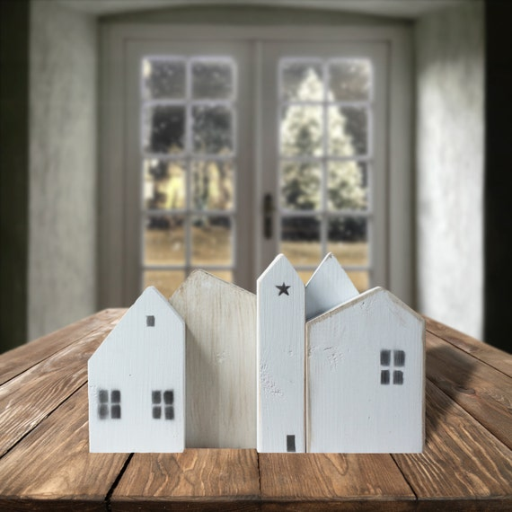 White wooden houses small wood house little wooden painted - Scrap wood decorated house ...