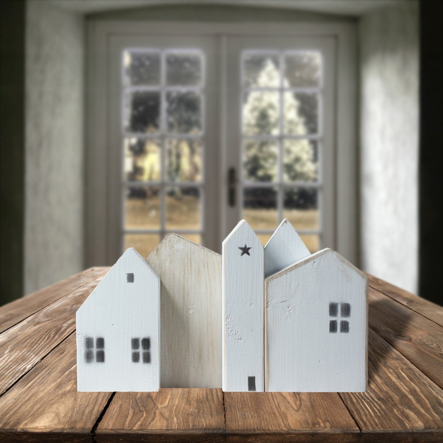 White wooden houses small wood house little wooden painted for Mini wooden house