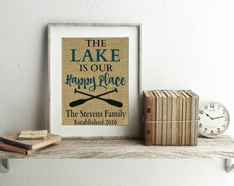 Personalized Lake House Print - Lake House Decor - Lake House Decorations - Lake Decor - Lake Cabin Decor - My Happy Place - Lake House Sign