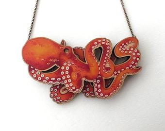 Laser Cut Orange Octopus Kraken Statement Necklace - illustrated wood - Tentacle Octopus Kraken Mermaid Jewellery Jewelry Gift Birch Please