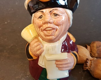 Royal Doulton Doultonville Mr Tonsil The Town Crier Toby Jug  D6713 ~ Stands 4.25 Inches Tall ~ Hand Made And Hand Decorated ~ 1984-1991