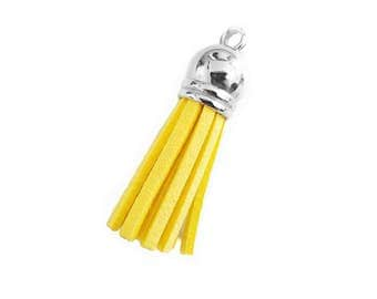 Small Tassels - 10 Yellow Tassels For Jewelry - Key Chain Tassel - Wine Charm Tassels - Cute Purse Tassel Charm - Tassel Earrings - TC-S063