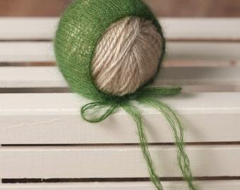 Green Mohair Newborn Bonnet, Newborn Bonnet, Newborn Knit Bonnet, Newborn Knit Hat, Knit Photo Prop