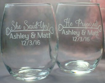 Engaged Couple Gift | Proposal Wine Glasses | Engagement Gift| Pair of Engaged Personalized 15 oz stemless wine glasses
