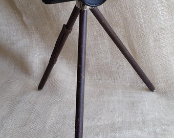 ANTIQUE GERMAN TRIPOD Vintage Errtee Portable Tripod Leather and Brass Collectible Tripod Collectible Antique Camera Equipment