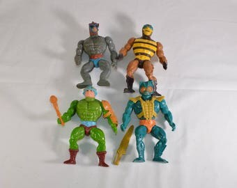 Stratos, Buzz Off, Man at Arms and Merman vintage action figures Masters of the Universe He-Man MOTU